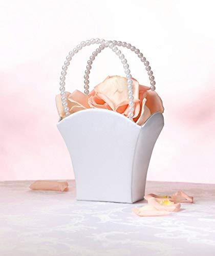 White Flower Basket Flower Girl Basket