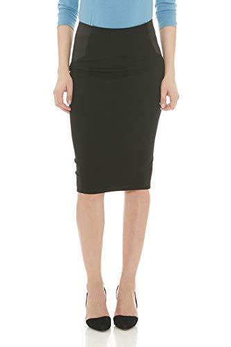 Esteez Women's Pencil Skirt Ponte Knit Slimming Side Panels Charlotte Black XS