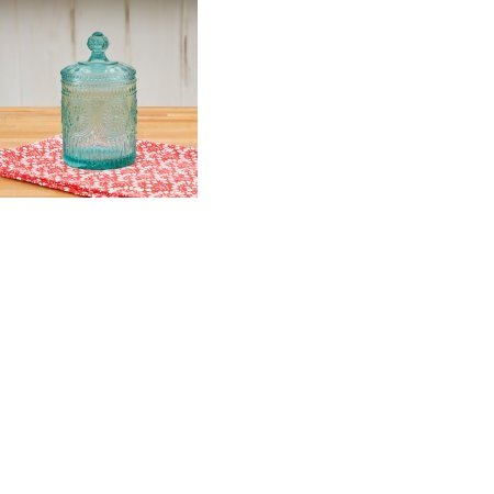 The Pioneer Woman Adeline Teal Mini Storage Jar 3.5 x 6.25 (Pressed Glass Candy)