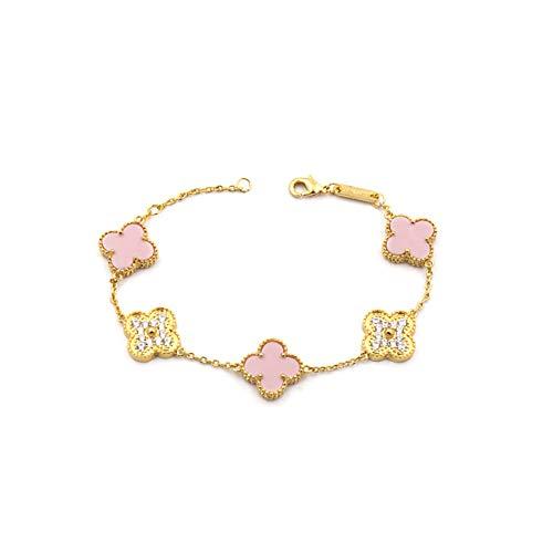 - Women Red Black Onyx Malachite 18K Gold Plated Four-leaf Clover Diamond Flower Bracelet/Classic Fashion 925 Sterling Silver Leaf Clover Pendant Bracelets (Pink-gold)