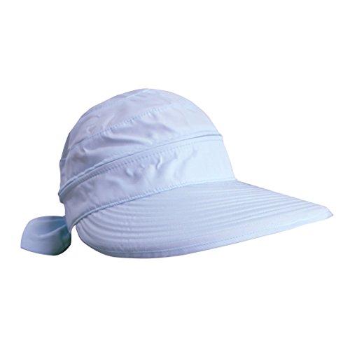 Women's Anti-UV Wide Brim Lightweight Summer Golf Tennis 2in1 Visor Sun Hat (Sky - Lightweight Blue Sky Hat
