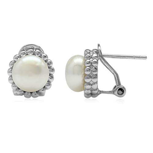 Ball Clip Pearl Earrings - 8MM Cultured Freshwater White Pearl 925 Sterling Silver Beaded Ball Pattern Omega Clip Post Earrings