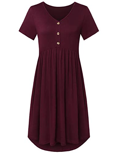 FANSIC Womens Short Sleeve Floral Printed Pleated Swing Midi Dress with Pockets Wine Red Large (Short Empire Dress)