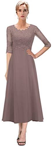 VaniaDress Women Chiffon Appliques Mother of The Bride Dress Formal Gowns V084LF Vintage Mauve US10 from Vania Dress