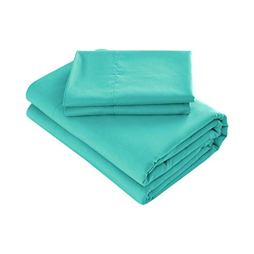 Prime Bedding Bed Sheets - 3 Piece Twin Sheets, Deep Pocket Fitted Sheet, Flat Sheet, Pillow Case - Turquoise by Prime Bedding