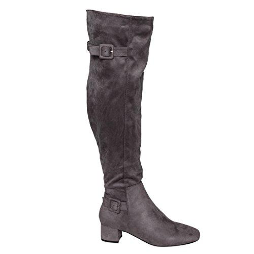 Beston EJ47 Frauen Seitlicher Reißverschluss Schnalle Block Heel Overknee High Boots Grau