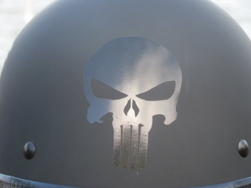 High Viz Inc Reflective Badass Skull Helmet Decal in BLACK - 2 1/8