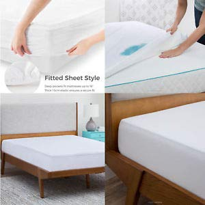 """Linenwala Mattress protector with 10"""" deep pocket Fitted sheet Style 100% Waterproof, Hypoallergenic, Breathable, Noiseless, No Crinkling, Allergy &Vinyl Free King, White Solid"""