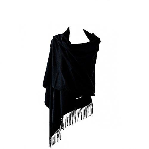 Soft Solid Cashmere Scarf Shawls Wool Warps Scarves Stole Large Size 28''x 75'' (black) by Baumor