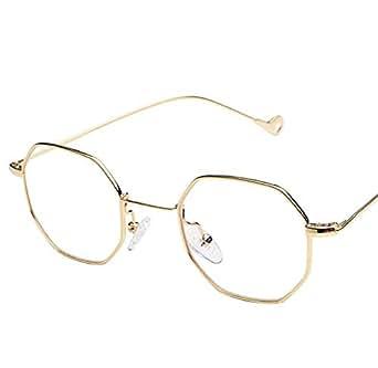 Fashion Gloden frame Sunglasses Small frame polygon Clear lens Sunglasses vintage Sun Glasses Hexagon Metal Frame-ej