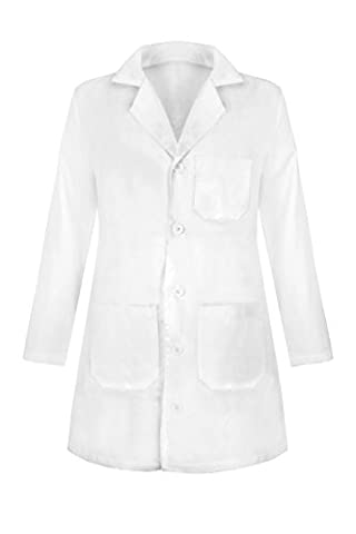 G Med Women's Solid Button Up Lab Coat with Pockets (Sizes XS-3XL)(OW-MED,WHTSHORT-XL) - Topaz Button
