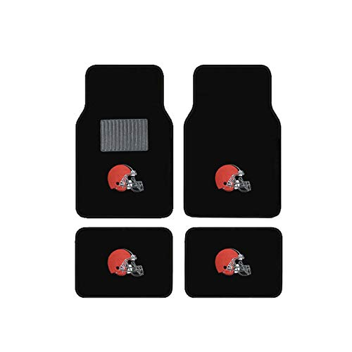 (Cleveland Browns Embroidered Logo Carpet Floor Mats. Wow Logo on All 4 Mats.)