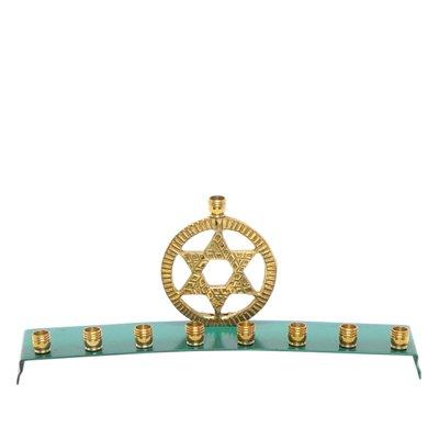 Brass and Aqua Hanukkah Menorah with Circle and Star of David Design