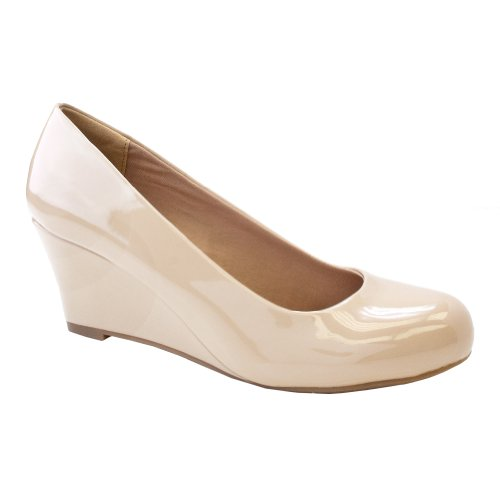 Forever Link Women's DORIS-22 Patent Round Toe Wedge Pumps,7 B(M) US,Beige