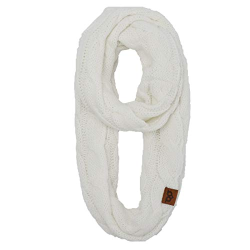 YOOWL Winter Long Circle Scarves Thick Ribbed Cable KnittedInfinity Warm Loop Scarves Ivory - Easy Scarf Cable