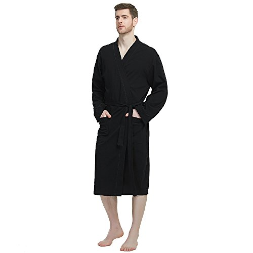M&M Mymoon Men's Kimono Robe Long Comfy Bathrobe Cotton Loungewear Spa Cloth Robe (Black, L/XL) by M&M Mymoon (Image #7)