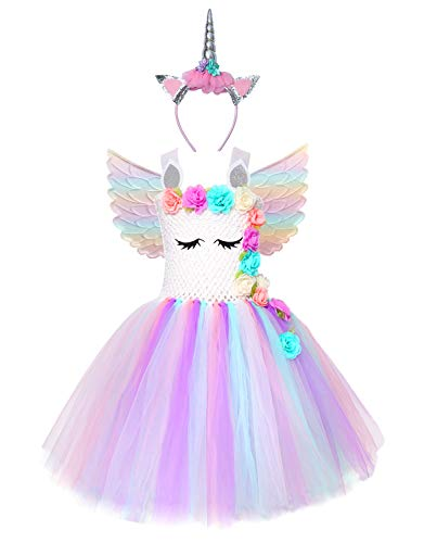 Cuteshower Girl Unicorn Costume, Baby Unicorn Tutu Dress Outfit Princess Party Costumes with Headband and Wings (7-8 Years, White) -