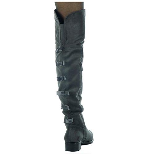 Angkorly soft Women's Boot Fashion 5 node knot Grey Thigh high heel 3 Shoes CM Block cavalier rIrwqxdY4