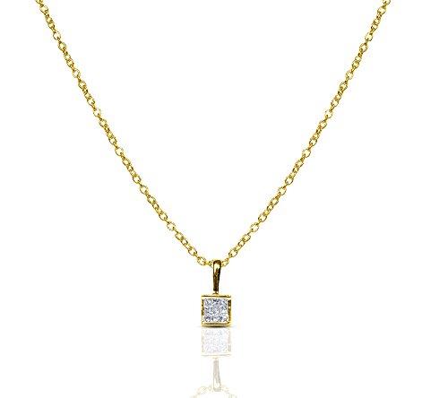 Libertini Pendentif argent 925 plaque or Jaune serti de Diamant en forme de Carrés