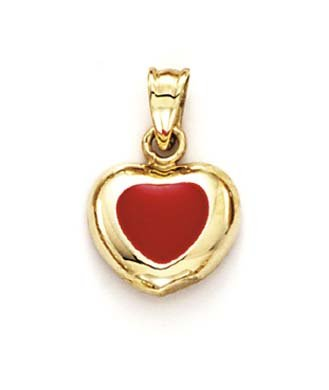 Émail 14 Carats Pendentif Coeur-JewelryWeb