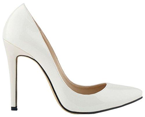 Harshiono Sexy High Heels Low Cut Vestido De Tacón De Aguja De Cuero Corte Zapatos Beige