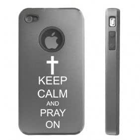 Apple iPhone 4 4S 4 Silver D2878 Aluminum & Silicone Case Cover Keep Calm and Pray On Cross