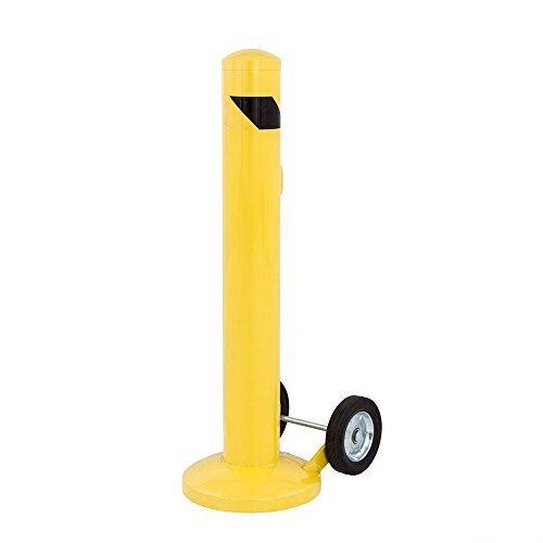 Guardian – Portable Safety Bollard – Forty-Two Inches Tall – DRC-PSB4255 – Durable Steel Construction – Built-in Handle and Wheels – Steel Plate Increases Stability