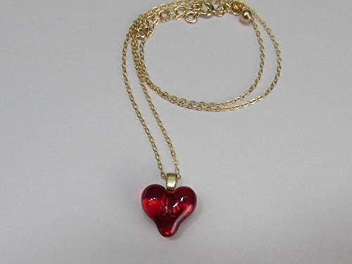 Borosilicate Glass Red Heart Pendant Necklace ()