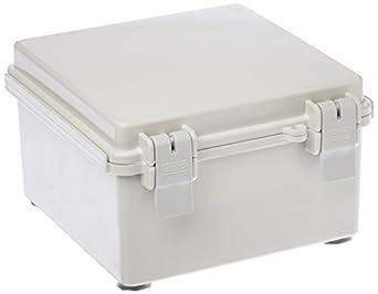 "BUD Industries NBF-32010 Plastic ABS NEMA Economy Box with Solid Door, 5-57/64"" Length x 5-57/64"" Width x 3-17/32"" Height, Light Gray Finish"