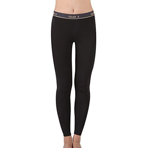 GearX Women's All Seasons Sports Long Pants Compression Base Layer S(85) Black