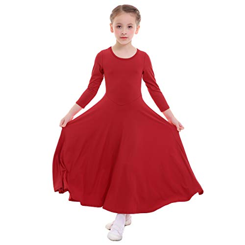 OwlFay Praise Dance Dresses for Girls Kids Loose Fit Full Length Long Sleeve Liturgical Lyrical Dress Little Big Girls Solid Color Christian Worship Dancewear Costume Praisewear Red 9-10 Years