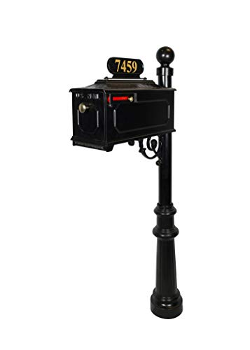 Addresses of Distinction Williamsburg Estate Mailbox System - Black Rust Resistant Mailbox - Includes Address Plate, Numbers & Mounting Hardware, Ball Finial - Powder Coated Aluminum (Georgetown Post)