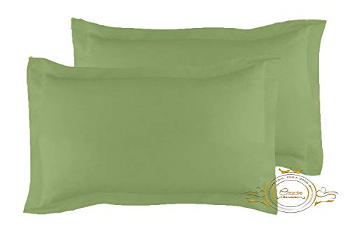 Crown Collection Moss Solid Free Size Pillow Shams Set of 2 - Hypoallergenic 500-TC 100% Egyptian Cotton Decorative Tailored Poplin Pillow Cover (Moss, Emperor/Oversize 20'' x 40'') (40 Crown Collection)