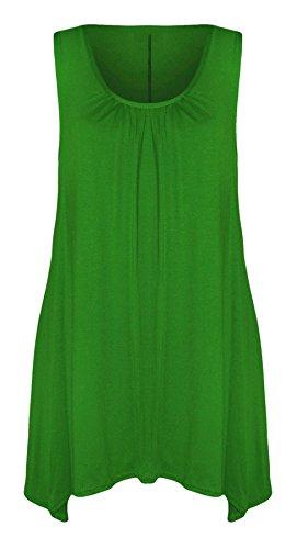 Islander Fashions Womens Geraffte Versammlung Slouch Hanky ??Hem Top Damen Phantasie Ausgestelltes Swing-Shirt S/XXXL Jade Green CzR8cP