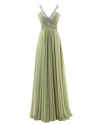 Fanmu Womens V Neck Straps Chiffon Prom Dress Party Evening Gown Size 6 UK Olive