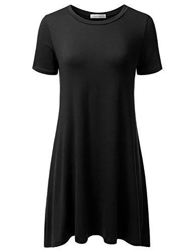 Jj Perfection Womens Casual Short Sleeve Loose Fit Swing T Shirt Tunic Dress Black L