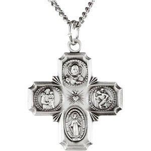 Collier en Argent Sterling croix Médaille 61cm quadri-directionnelles, 25x 24mm