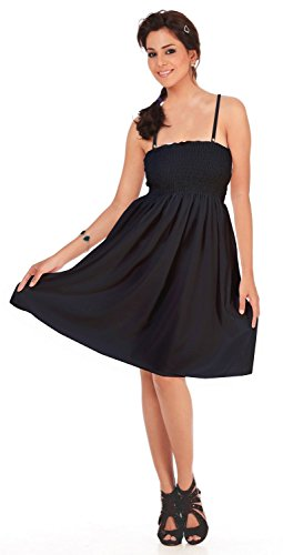 La Leela Likre Black Solid Color Strap Sleeveless Smocked Short Tube Dress Skirt Spring Summer - Tube Smocked Top