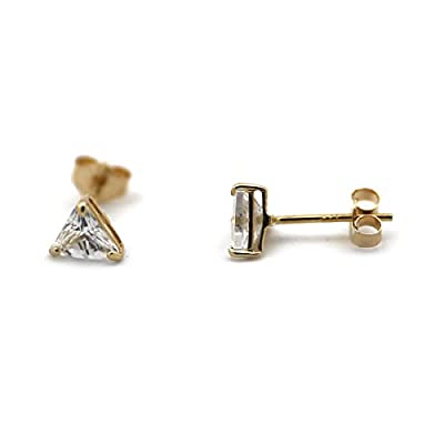 14k Yellow or White Gold Small 4mm Cubic Zirconia Triangle Stud Earrings