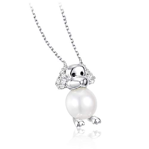 PEARLOVE 925 Sterling Silver Platinum Plated Freshwater Pearl Dog Necklace, Cute Poodle Pendant Necklace, Jewelry for Women Girls with Elegant Gift - Poodle Pearl