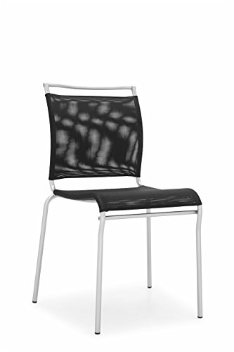 Calligaris Fabric Chair - Connubia Air Chair - Stained Satin Finish Steel Frame - Synthetic Fabric Net Seat - Black