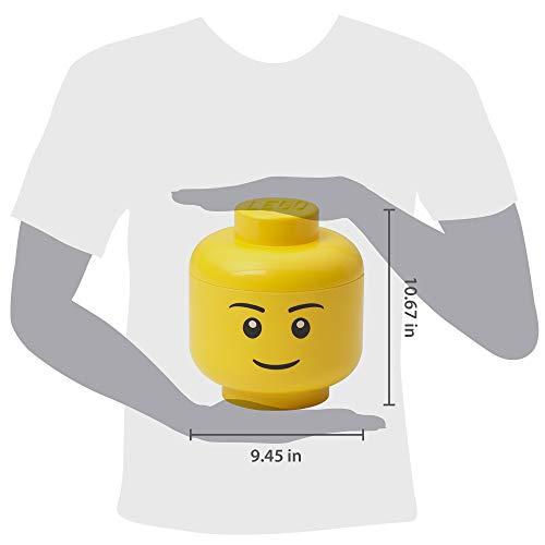 Room Copenhagen Lego Storage Head, Large, Boy, 9-1/2 x 9-1/2 x 10-3/4 Inches, Yellow (4032)