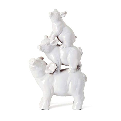 MISC Stacked Pig Figurine White Three Pigs Ceramic Sculpture Farm Animal Theme Country Home -