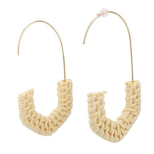Peigen Rattan Earrings for Women Handmade Straw Wicker Braid Drop Dangle Earrings Lightweight Geometric Statement Earrings