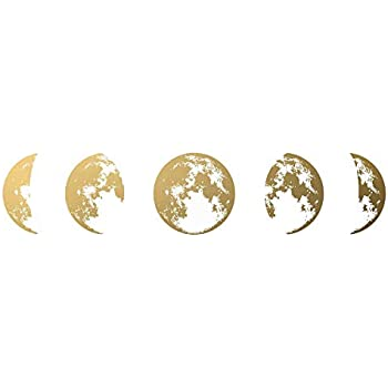 Gradient Moon Wall Decals, Removable DIY Art Decor Wall Stickers Murals for Living Room TV Background Kids Girls Rooms Bedroom Decoration (Gold, 30X172cm)