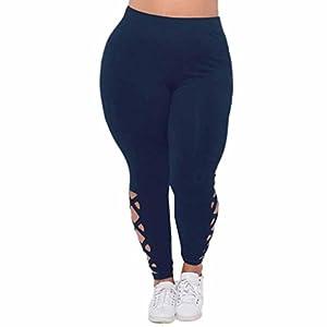 Lookatool Women Plus Size Elastic Leggings Criss-Cross Hollow Out Sport Pants (Navy, XL)