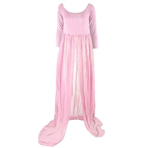 MagiDeal Vestido para Mujeres Embarazadas Ropa de Disfraz Gasa de Manga Larga Fotografía rosa