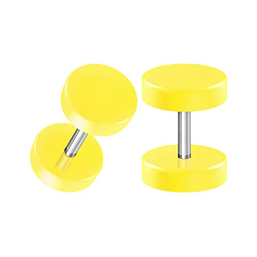 BIG GAUGES Pair of Surgical Steel Yellow Acrylic 16g Gauge 1.2mm Fake Illusion Plugs O-Rings Piercing Earring Cheater Ear Lobe BG1780