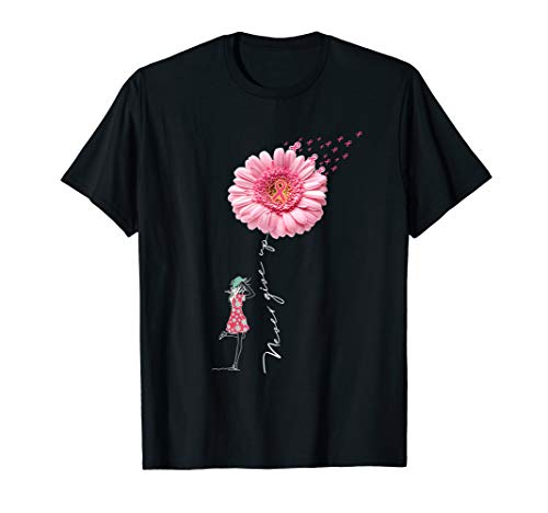 - Never give up t-shirt Breast Cancer daisy flower woman T-Shirt