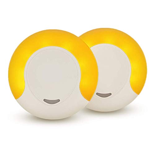 Sleep Aid Amber LED Night Light for Bedroom with Dusk to Dawn Sensor, Low Blue LED Promotes melatonin Production and Healthy Sleep, ON-Off-Auto Toggle, 2-Pack